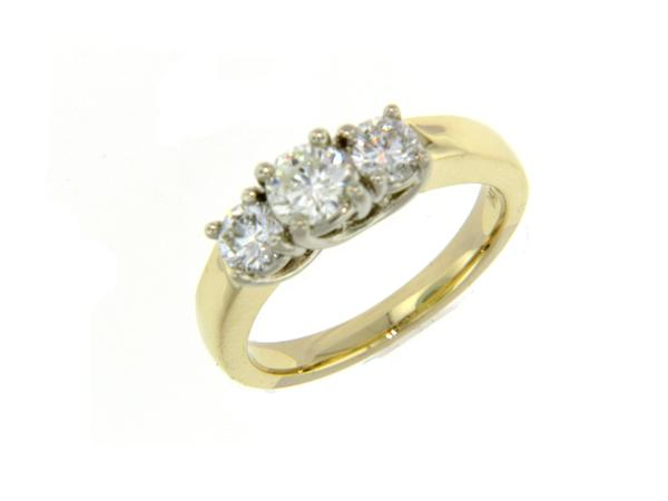 View 3-Stone Ring 14KY 1.02ct